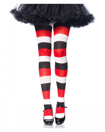 Striped tights black-red-white