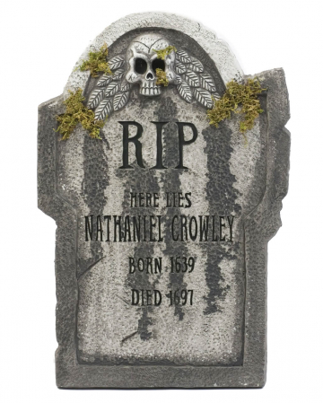 Halloween gravestone with skull & moss 55 cm