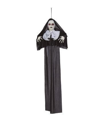 Zombie Nonne Hängefigur mit LED Augen