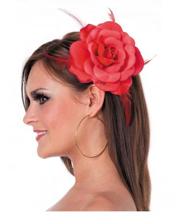 Rote Rose mit Haarklammer