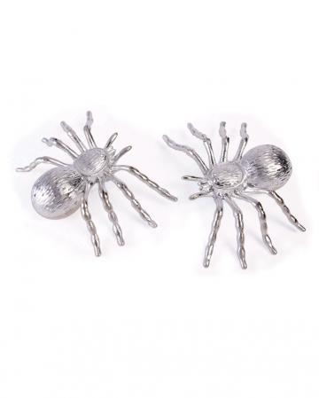 Halloween Deko Spinnen Silber 2 St.