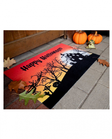 Halloween Doormat With Ghost House Motif