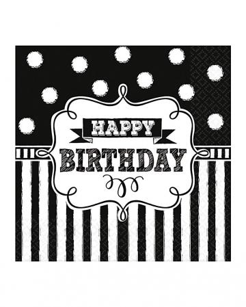 Happy Birthday napkins black and white 16 pcs