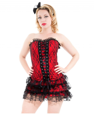Gothic Corsage Dress With Lace Red