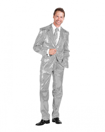 Men Suit With Sequins Silver
