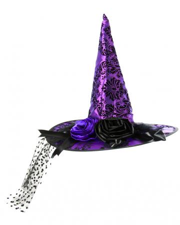 Hexenhut Brokat Walpurga lila-schwarz