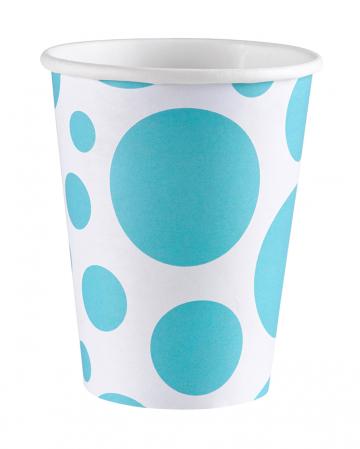 Caribbean Blue Dots Paper Cups 8 Pcs.