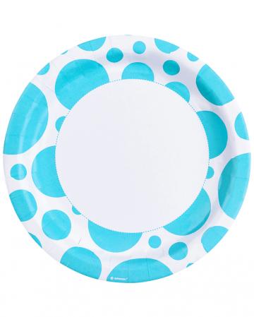 Caribbean Blue Dots Paper Plates 8 Pcs.