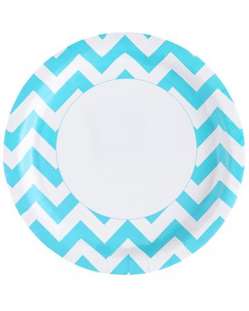Caribbean Blue Zig-Zag Paper Plates 8 Pc.