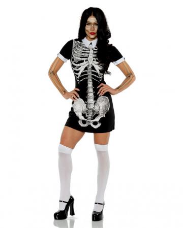 Shortsleeve Skeleton Mini Dress With Collar