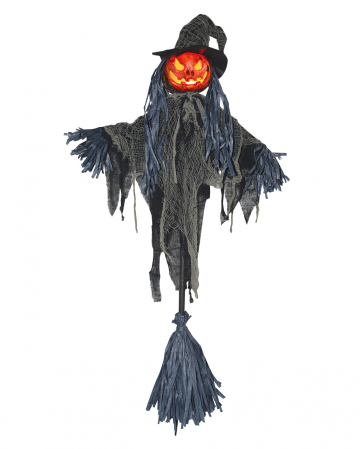 LED Pumpkin Scarecrow On Witches Broom