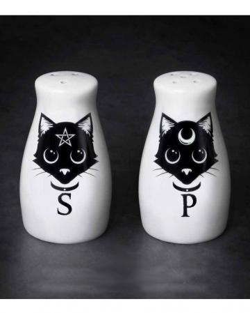 Magische Wicca Katzen Salz & Pfefferstreuer Set