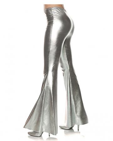Metallic flare pant silver