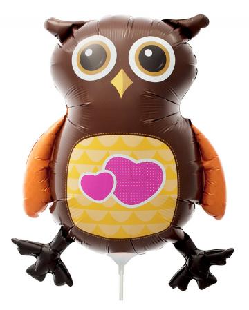 Mini-Folienballon Eule mit Herz