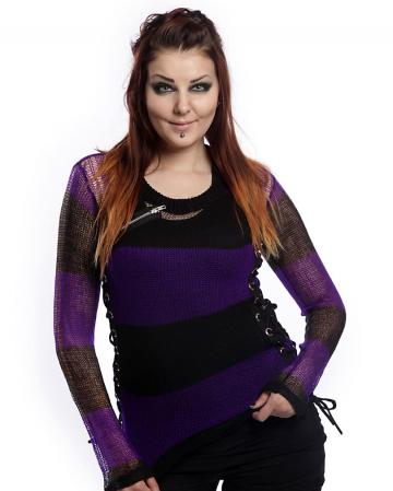 Miss Krueger Pullover schwarz-lila