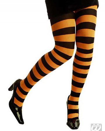Neon orange striped tights