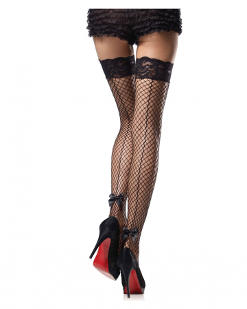 Strapless net stockings with bow