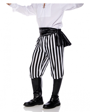 Pirate costume trousers black-white striped