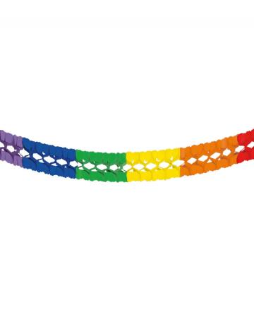 Rainbow tissue paper garland