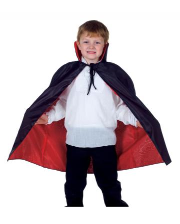 Schwarz-roter Vampir Umhang für Kinder