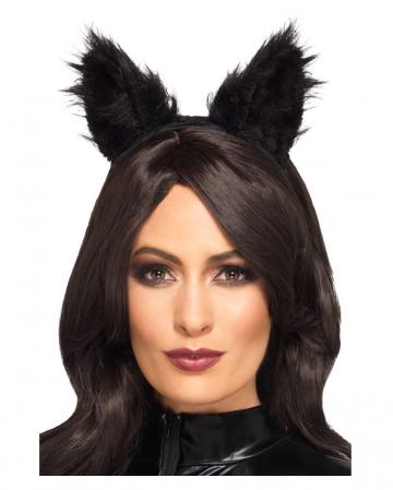 Schwarze Kunstfell Katzenohren