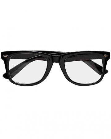 Schwarze Nerd Brille mit Gläsern
