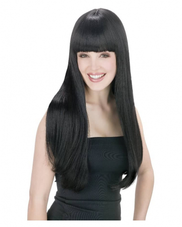 Long Hair Wig With Pony Black