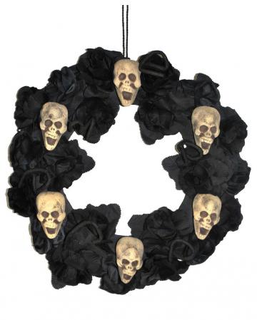Halloween Door Wreath With Roses & Skulls