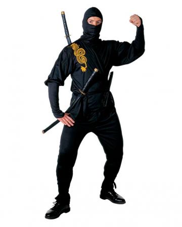 Black Ninja Costume Golden Dragon Gr. L