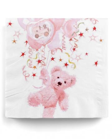 Servietten Teddy Girl rosa 20 St.