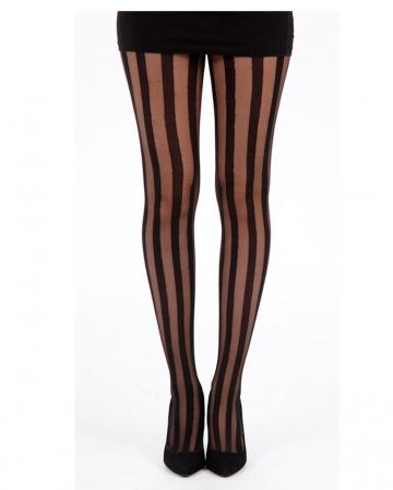 Sheer Bar Pantyhose With Stripes