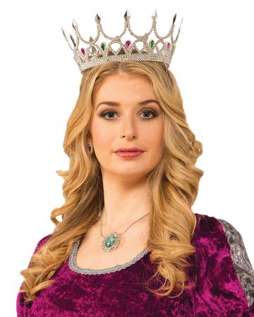 Silberne Königinnen Krone mit Glitzersteinen