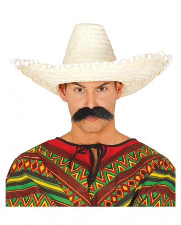 Sombrero mit Bommeln beige