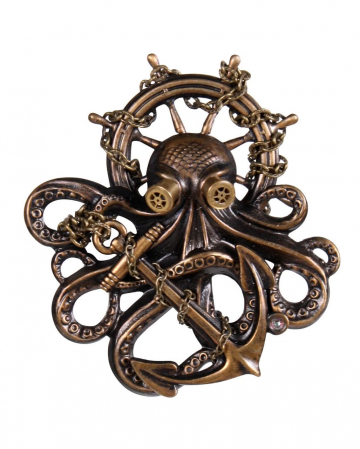 Steampunk Brosche Octopus