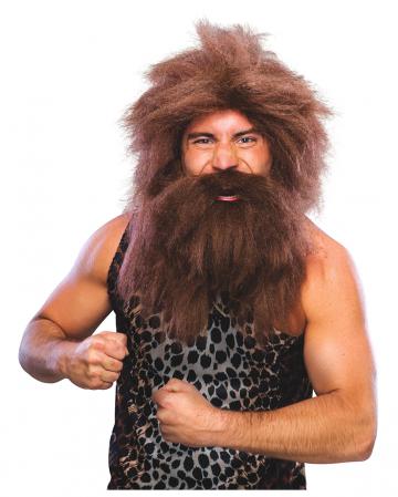 Steinzeit Perücke mit Bart braun