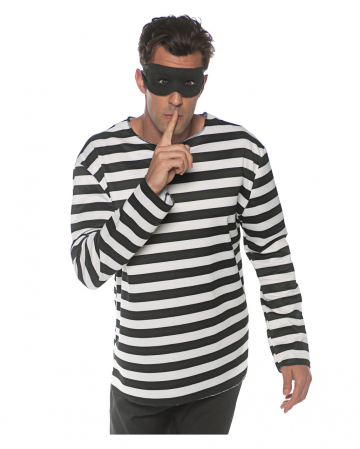 Convict Costume Shirt With Mask