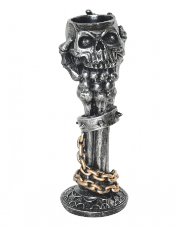 Skull Candlestick With Skeleton Arm