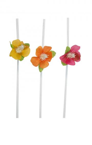 Trinkhalme mit Hibiskus-Blüten