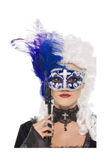 Venetian Stick Eye Mask with Feathers