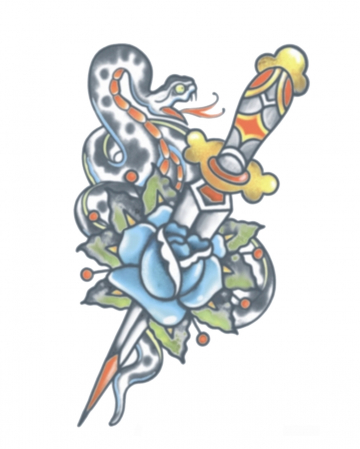 Vintage Glue Tattoo With Snake And Dagger