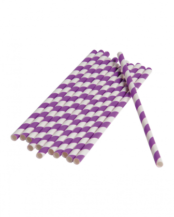 12 Paper Straws Purple White