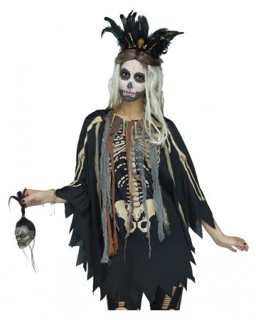 Voodoo Skelett Kostüm-Poncho