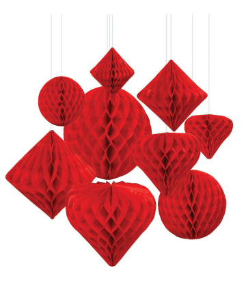 Honeycomb Ball Hanging Decoration Set 12 Pcs Red