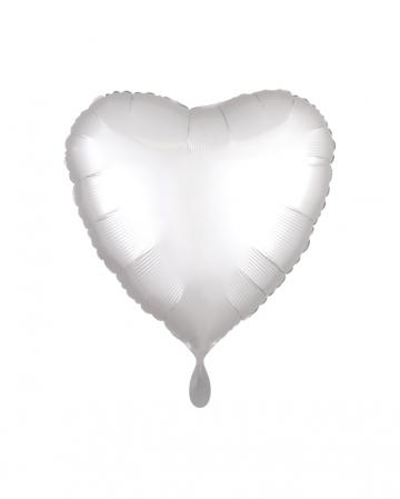 White Heart Foil Balloon Satin Optics