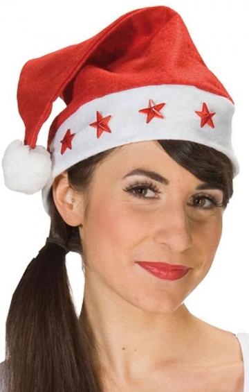 Weihnachtsmütze mit LED Sternen