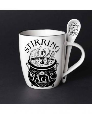 Weiße Stirring Up Magic Tasse mit Löffel