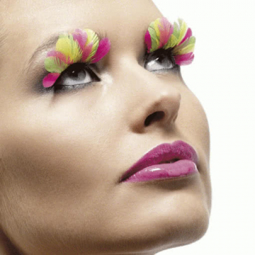 Feder Wimpern Multi Colour Neon