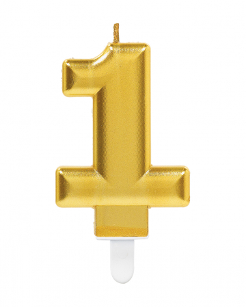 Number Candle 1 Metallic Gold