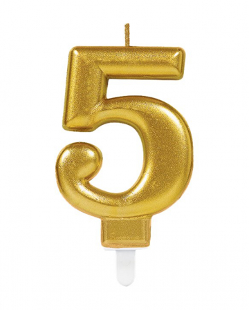 Number Candle 5 Metallic Gold