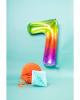Folienballon Zahl 7 Regenbogen